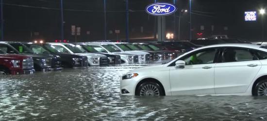 xe Ford bị ngập vì mưa lũ