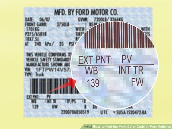 Đọc mã màu sơn xe Ford 3