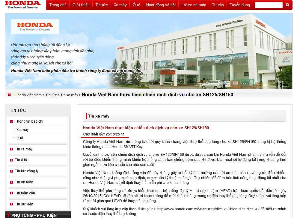 Honda Việt Nam thông báo sửa khóa Smart Key của xe SH mới 4